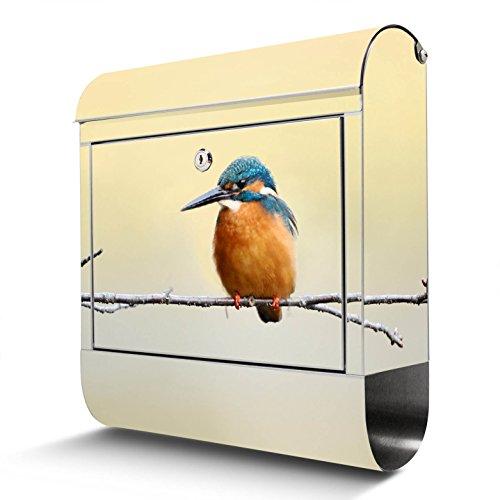 BANJADO Edelstahl Briefkasten mit Zeitungsfach, Design Motivbriefkasten, Briefkasten 38x43,5x12,5cm groß Motiv Pause