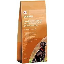 Marque Amazon - Solimo - Croquettes complètes pour chien adulte,riche en poulet avec pois, 1 Pack de 20kg