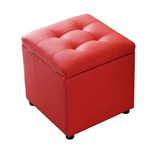 ZBYY Sitzhocker Mit Stauraum Polsterhocker Leder Sofahocker Schuh Hocker Flur Wohnzimmer Schlafzimmer Max.150kg 40x40x40cm Rot