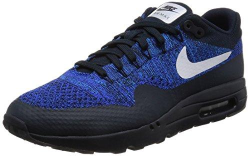 Nike Mens Air Max 1 Scarpe Da Corsa Ultra Flyknit, Arancione, 45 Eu Nero (ossidiana Scura / Bianco-blu)