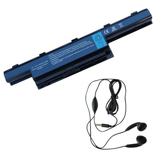 amsahr NE51B-03 Ersatz Batterie für Gateway NE46R, NE51B, NE56R, NE71B, NS41, NS41I - Umfassen Stereo Ohrhörer schwarz (Batterie Gateway Ne71b)