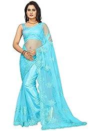 Vinayak Textiles Women's Net Saree with Blouse Piece (SN111SeaBlue, Sea Blue, Free Size)