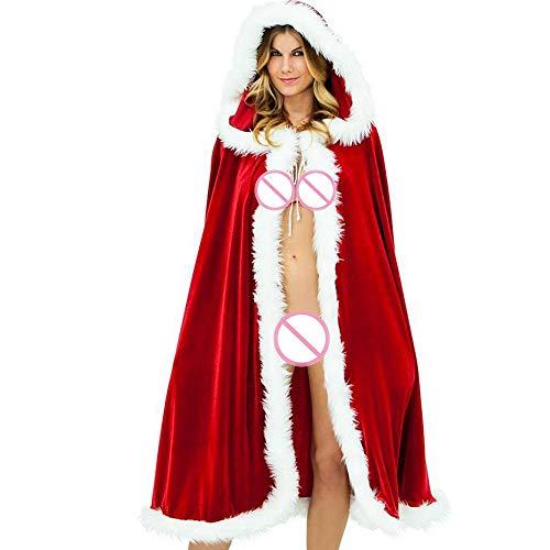 INLLADDY Weihnachten Bekleidung Weihnachtsmann Damen Weihnachtskostüm Weihnachten Kostüm Umhang Mantel Mit Kapuze Volle Länge Cape Rot 3XL