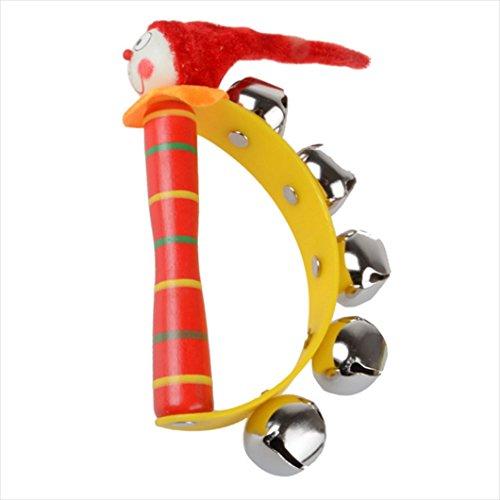 WINWINTOM Baby Regenbogen Musikinstrument Spielzeug aus Holz Glöckchen Rassel Jingle Ring
