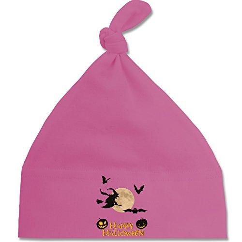 Anlässe Baby - Happy Halloween Mond Hexe - Unisize - Pink - BZ15 - Baby Mütze mit einfachem Knoten als Geschenkidee (Besen Flamme Hexe)