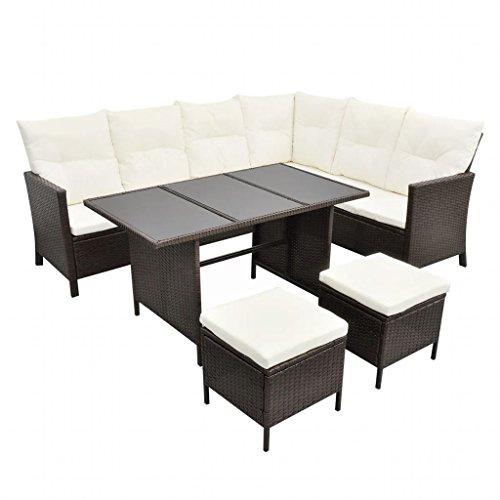 mewmewcat Polyrattan Lounge Set Loungemöbel Loungeset Gartenmöbel Braun