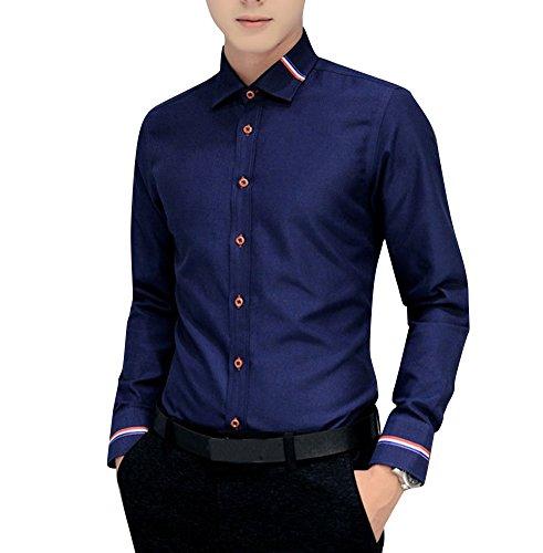 Uomo camicia Manica Lunga Casual / Camicia a righe / Camicia Casual Taglia M/L/XL/XXL/3XL Blu scuro