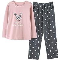 DUKUNKUN Pijama De Casa Pijama Conjunto De Cintura Elástica Pantalones De Lunares Pijama De Algodón Casual-L