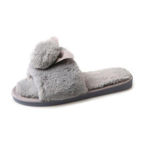Damen Plüsch Hausschuhe, FNKDOR Weiche Wärme Bequem Kunstpelz Flache Pantoletten Flauschige Schuhe (37, Grau)