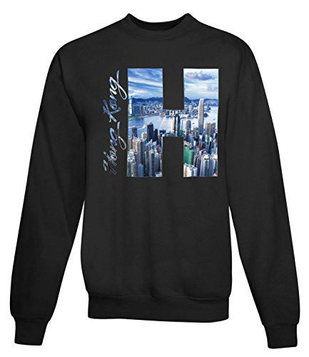 Billion Group | View Of Hong Kong | City Collection | Women's Unisex Sweatshirt Noir