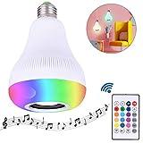 TankerStreet Musik Glühbirne E27 Bluetooth Lautsprecher mit Fernbedienung LED Farbwechsel Smart Lampe Dimmbar RGB Bass Drahtlose Verbindung Glühlampe für Party Bar Zuhause Hotel Deko 9,5x15cm Weiß
