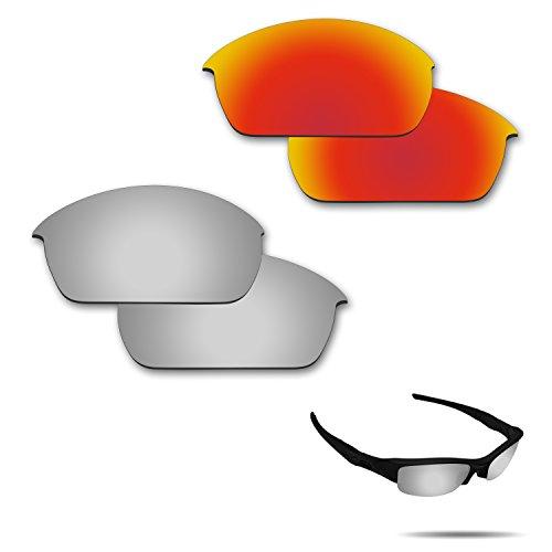 Fiskr Anti-Salzwasser-Polarisierte Ersatzgläser für Oakley Flak Jacket Sonnenbrillen, 2 Paar, Fire Red & Metallic Silver, 0 US