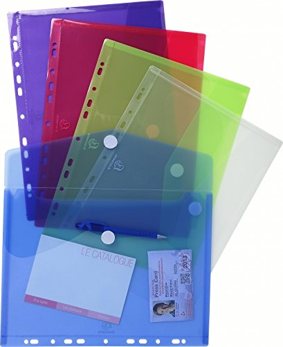 Exacompta 57380E Sachet de 5 Pochettes enveloppes perforées format A4 20/100ème en polypro/fermeture Velcro Couleurs Assorties