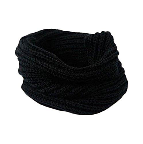 Sannysis Cálido Cuello de punto; Círculo de lana Blend capucha; Bufanda de lana multiusos (Negro)