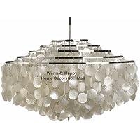 PC bianco moderno conchiglie Capiz lampadari decorativi Home Apparecchio di illuminazione decorativa Home Lampadario,marrone
