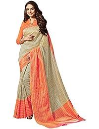 Janasya Women's Beige Cotton Silk Printed Saree With Unstitched Blouse (SR002-3004-BEIGE)