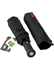 HODGSON Parapluie Pliable,Windproof Double Couche, Ouverture et Fermeture Automatique Pliage Parapluie Pluie Noir Pour Homme et Femme LED Manipuler