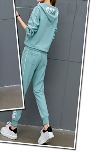 Donna Felpa Con Cappuccio+Pantaloni 2 Pezzi Elegante Autunno Invernali Unique Tute Manica Lunga Pullover Stampa Pattern Casual Tutine Sportivi Tasche Anteriori Giovane Fitness Pagliaccetti Tuta Blu