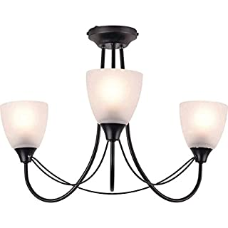 Argos Home Symphony 3 Light Ceiling Fitting, 3 Frosted Glass Shades - Black