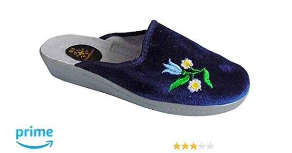 gibra Damen Pantoffeln Hausschuhe mit fester, leichter Sohle, Art. 3026, blau, Gr. 40