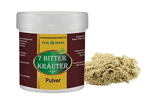 Wacholderbeeren Tee (VITA IDEAL ® 7 Bitter Kräuter PULVER 300g mit Bibernellwurzel, Wermut, Schafgarben, Fenchel, Kümmel, Anis, Wacholderbeeren + Messlöffel)