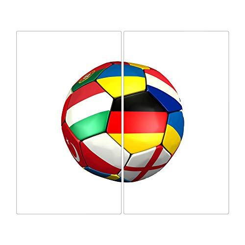 BANJADO Herdabdeckplatte aus Glas / Herdabdeckung zweiteilig je 30x52cm / Spritzschutz für Ceranfeld oder Induktionsherd / Schneidebrett perfekt für die Küche mit Motiv Fussball EM