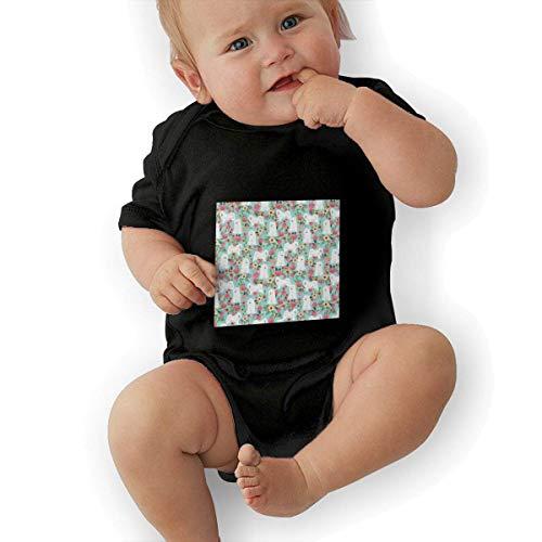 Carters Floral Bodysuit (Babybekleidung Jungen Mädchen T-Shirts, Samoyed Dogs Floral Dog Baby Newborn Cotton Short-Sleeve Bodysuit for Boys and Girls)