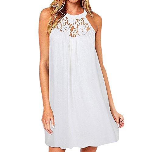 friendGGDamen Ärmelloses Kleid Bodycon Abendkleid Kurzes Minikleid Neckholder Lace Panel Chiffon-Kleid (M, Weiß)