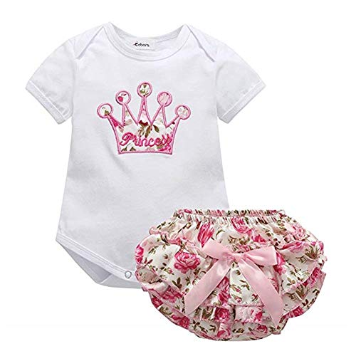 Puseky 2 STÜCKE Infant Baby Mädchen Kleidung Krone T-shirt + Floral Rock Shorts Outfits Set (Color : White, Size : 6M-12M) -