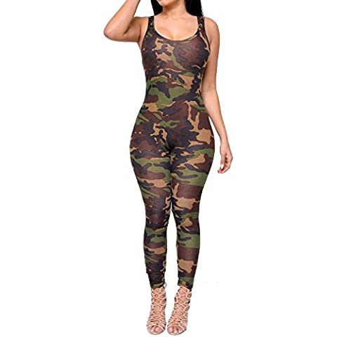 Nuovo donna senza maniche, Mimetico Militare Stampa Tuta Intera Tutina Club Wear Clothing, taglia M (UK 10–12EU 38–40 - Tuta Militare