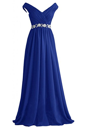 Sunvary eleganti A-Line Poretrait V-Neckline Sweep formale ballo di abito da sera Royal Blue