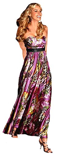 Laura Scott Evening Satin-Abendkleid Partykleid Blütenmuster bunt Gr. 32