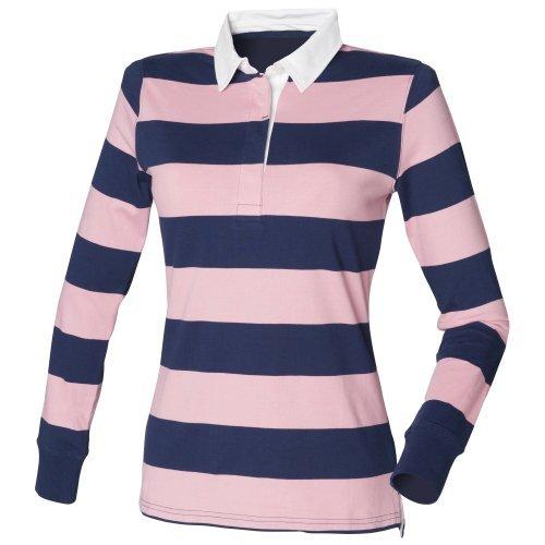 Front Row Damen Rugby Polo Shirt Gestreift Langarm (Medium) (Dunkelblau/Pink)
