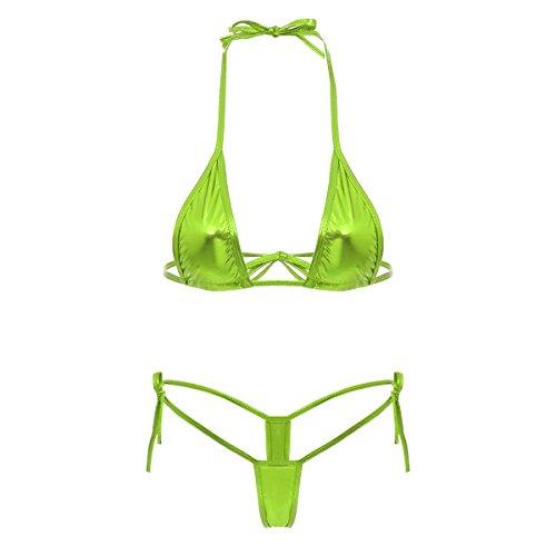 Damen Metallic Glänzend Micro Mini Bikini Push Up Set Sexy Dessous Wetlook BH String Unterwäsche Badeanzug Bademode Reizwäsche Neckholder Schwimmanzug Badebekleidung Apfelgrün