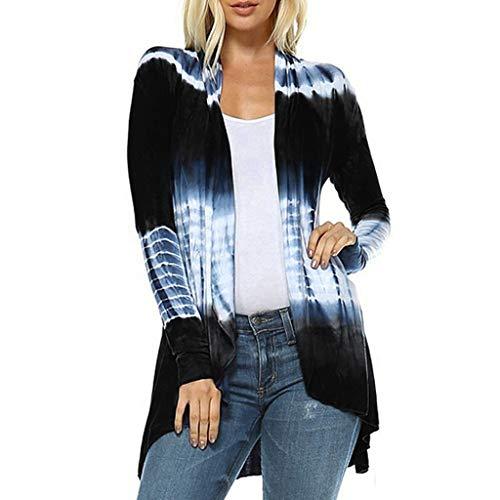 Subfamily Strickjacken für Damen Dünn Farbverlaufs Cardigan Lang Elegant Outwear Mantel Oberteile Freizeit Locker Tops Langarm Tunika (4XL, Marine) -