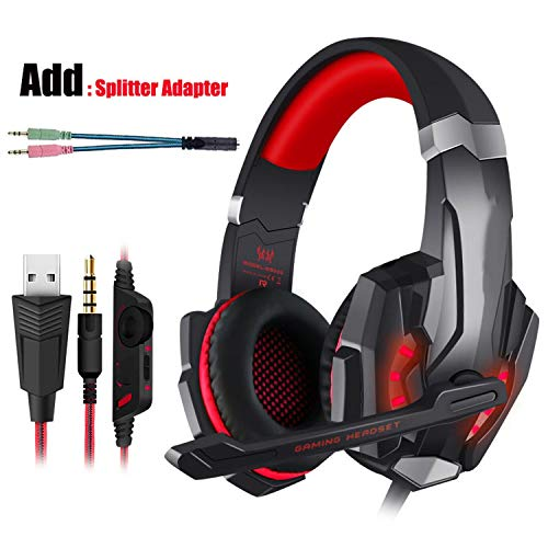 Sungr Gaming Headset PS4 Kopfhörer mit Mikrofon Kopfhörer für PC T-Shirt, Rot und Kabel