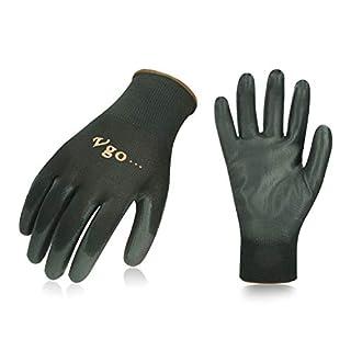 Vgo 15 paires Gants de travail et de jardinage en PU multifonctions (Taille 9/L,Noir,PU2103)