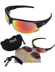 Edge Schwarz UV Schutz 400 Sport Sonnenbrille mit polarisierten Wechselgläsern