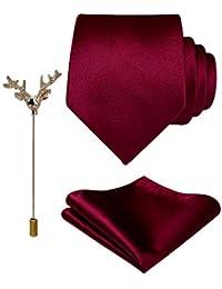 c61780a79d6fe Sorella z Mens Satin Solid 2 Inch Necktie with Pocket Square   Lapel Brooch