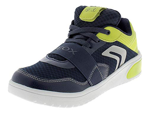 Geox xled sneaker junior boy con luci a led personalizzabili j927qb - 33 - navy-lime