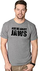 Mens Ask Me About Jaws Flip up Tshirt Funny Ocean Shark Movie Tee for Guys from Crazy Dog Tshirts
