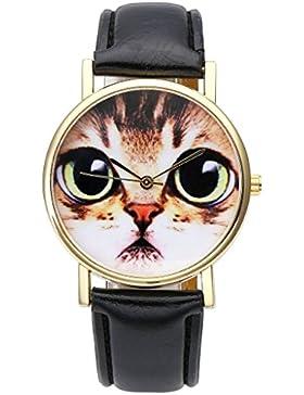 JSDDE Uhren,Fashion Damen Armbanduhr lieblich Katzen Gesicht Muster Armbanduhr Leder Armband Analog Quarz Uhr,...