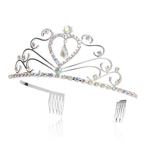 SWEETV Enfant Princesse Tiara En Forme de Coeur Couronne Strass Accessoires de Coiffure avec Peignes Multicolore