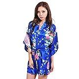 Kimono Floreale del Pavone delle Donna Signore del Mattino Breve Accappatoio per Semplice Glamorous Il Bagno Notte in Raso Calda Biancheria Intima Erotica Chemise (Color : Royal Blue, Size : M)