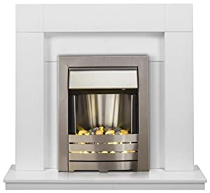 Adam Malmo Fireplace Suite in Pure White with Helios Electric Fire in Brushed Steel, 39 Inch