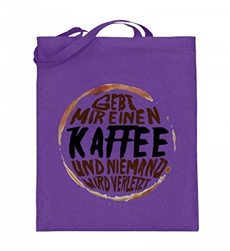 Hochwertiger Jutebeutel (mit langen Henkeln) - Gebt mir einen Kaffee und niemand wird verletzt -...