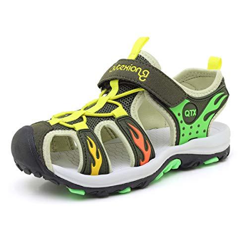JIANKE Geschlossene Sandalen Jungen Wandern Sportliche Outdoor Sandalen Kinder Sommer Strand Schuhe (Grün,28)