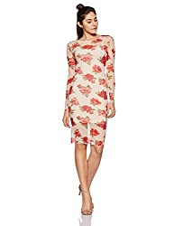 Forever 21 Womens Body Con Knee Length Dress (242847_Beige/RED_L)