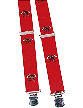 Hosenträger mit Print Feuerwehr Helm Abzeichen 06567 rot
