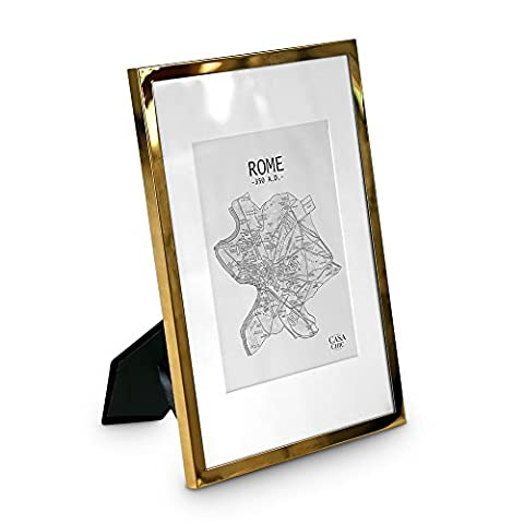 A4 Photo Frame - Gold Plated - GLASS Front - With Picture Mount for 8x6 Photos - 1.5 cm Edge Width - Golden Frames